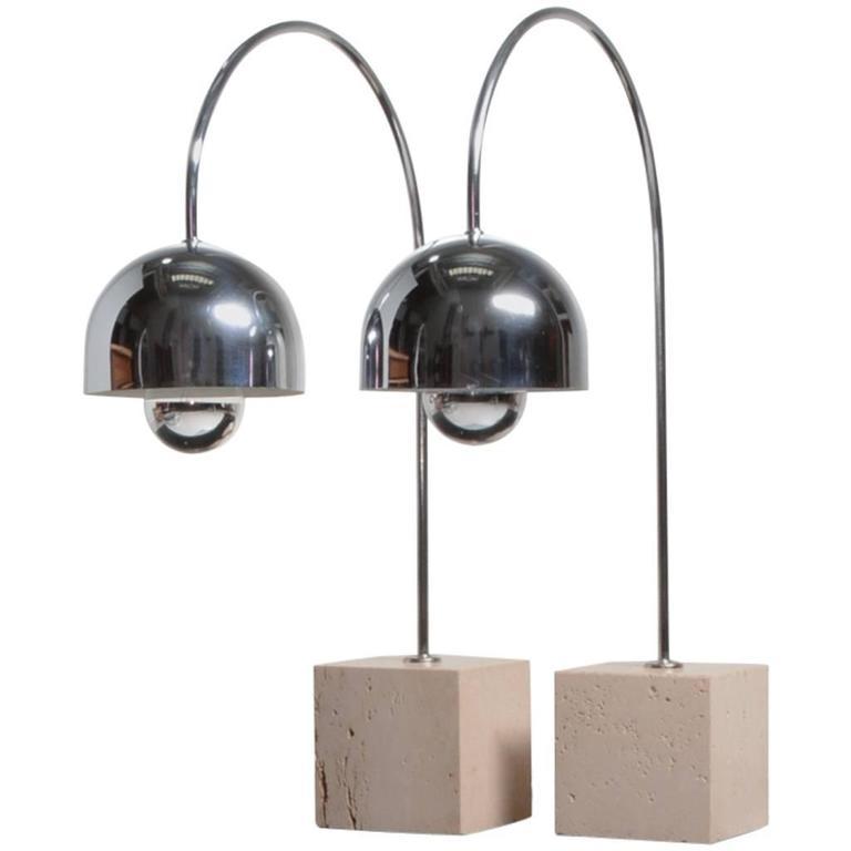 Guzzini Chrome Arc Table Lamp with Travertine Base