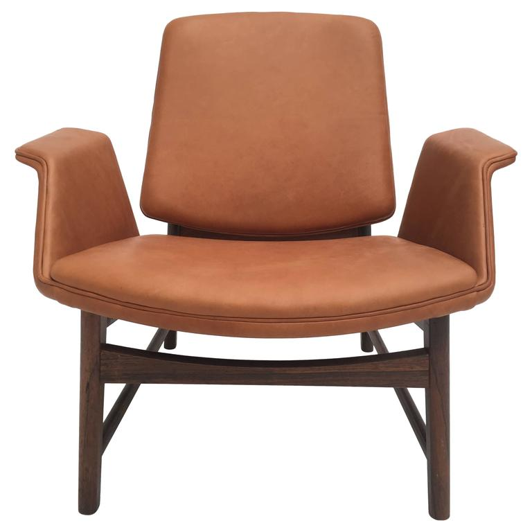 Very Rare Hans Olsen Rosewood And Leather Lounge Chair, Denmark, 1950s For  Sale