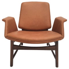 Very Rare Hans Olsen Mahogany and Leather Lounge Chair, Denmark, 1950s