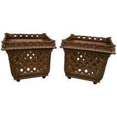 Pair of French Antique Cast Iron Planters or Jardinière