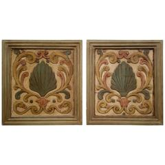 Pair of Large 19th Century French Carved and Painted Panels