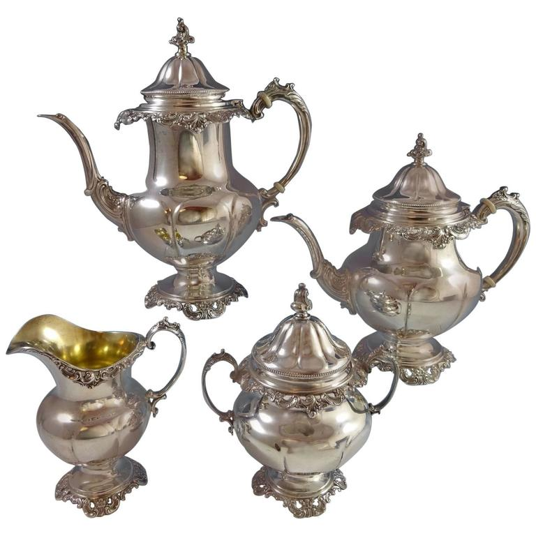 grande baroque wallace sterling silver tea set stunning 4 piece set hollowware for sale