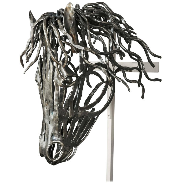 Unique Hand-Forged Model of a Horse's Head in Textured Bar Steel For Sale