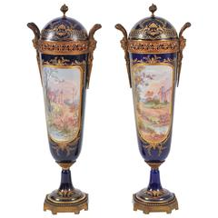 Pair of 19th Century Important Blue Sevres Lidded Vases