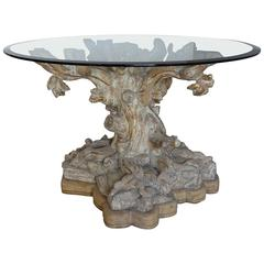 Italian Carved Tree Table with Glass Top