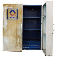 Vintage Delco Parts Display Cabinet, 1960s