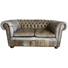 English Chesterfield Leather Sofa, circa 1900