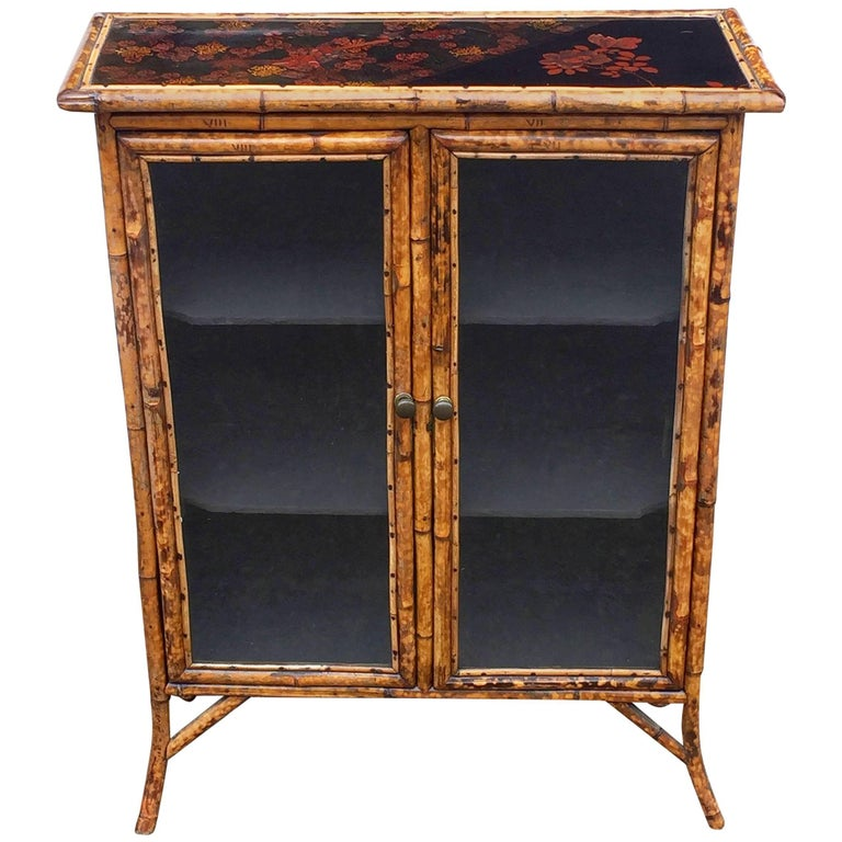 English Bamboo and Lacquer Cabinet Bookcase with Two Glass Doors 1
