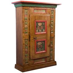 Antique Hanging Cabinet with Original Paint from Sweden, Dated 1789
