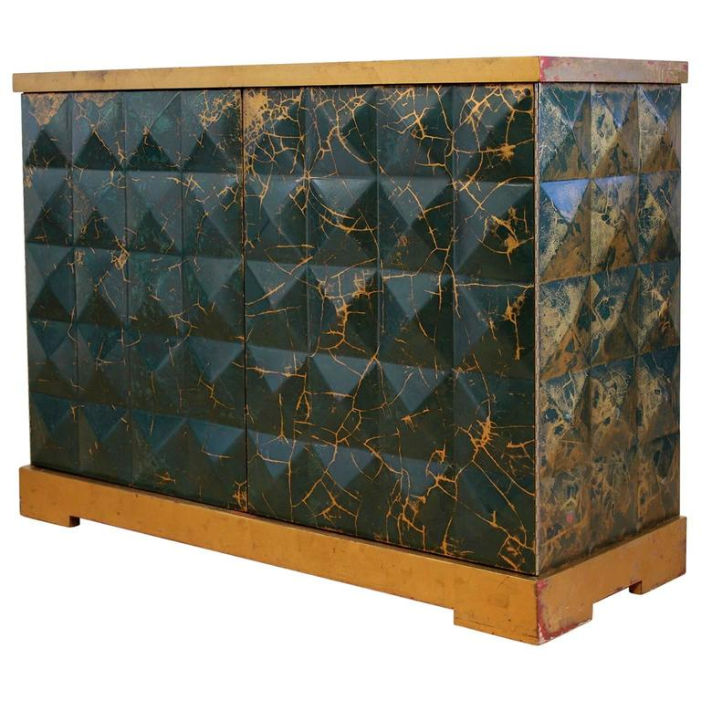 Baker Furniture Barbara Barry Diamond Gold Leaf Cabinet For Sale