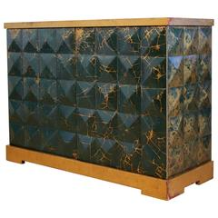 Baker Furniture Barbara Barry Diamond Gold Leaf Cabinet