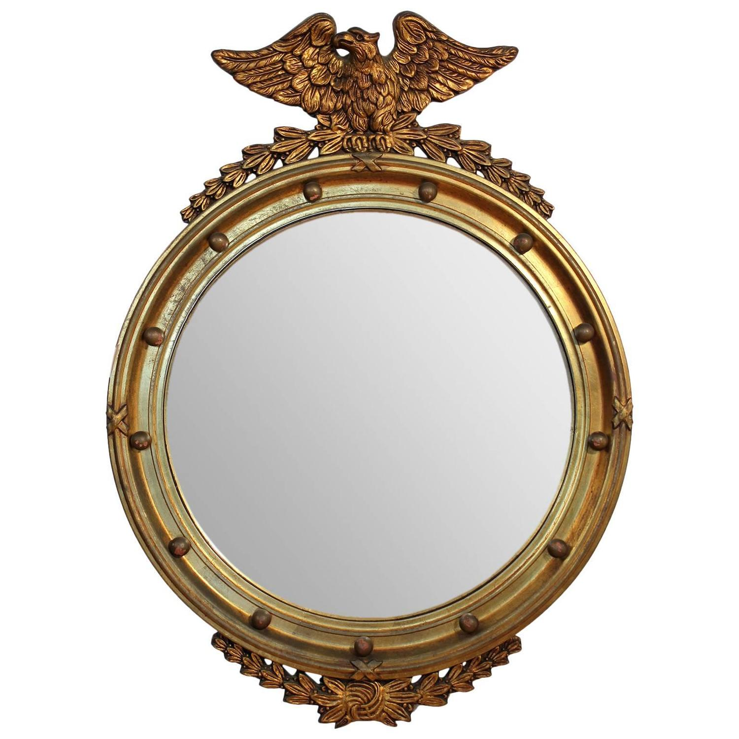 Sun Mirror in Antique Gold Finish and Convex Mirror For Sale at 1stdibs