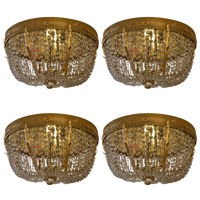 Set of Four Grand Hollywood Regency Flush Mount Chandeliers For Sale