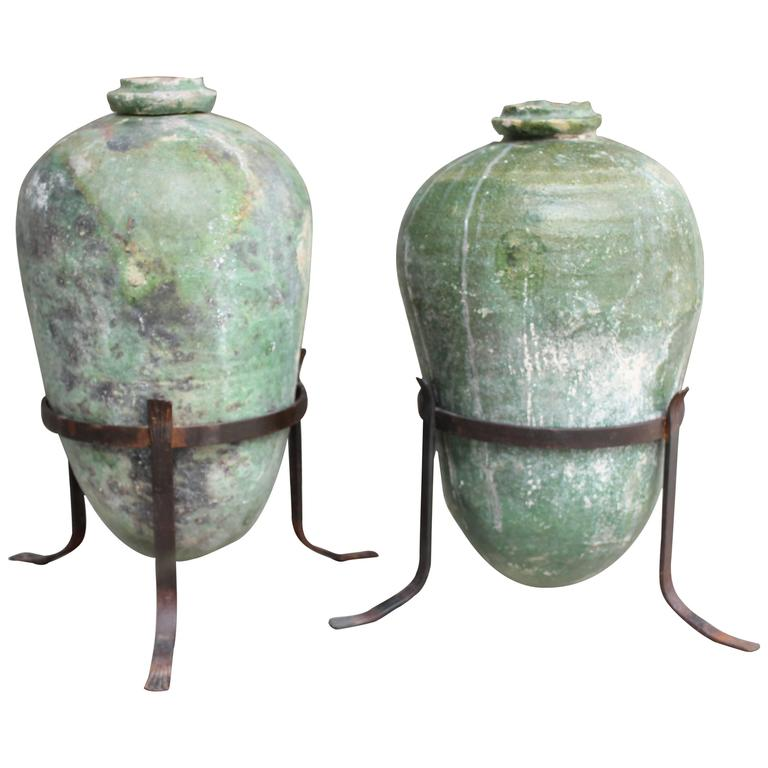 Pair of 17th Century Spanish Urns with Wrought Iron Stands 1