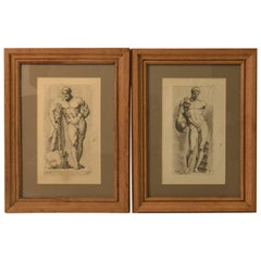 Bookplate etchings of the Farnese Hercules and Michelangelo's David, set of two