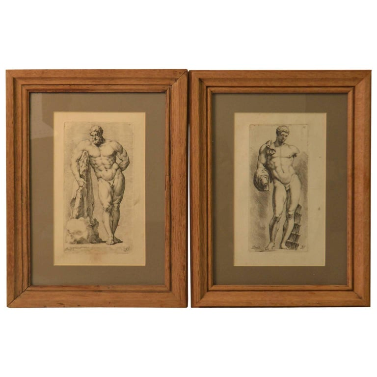 Bookplate etchings of the Farnese Hercules and Michelangelo's David, set of two For Sale