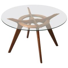Elegant Walnut and Glass Dining Table by Adrian Pearsall