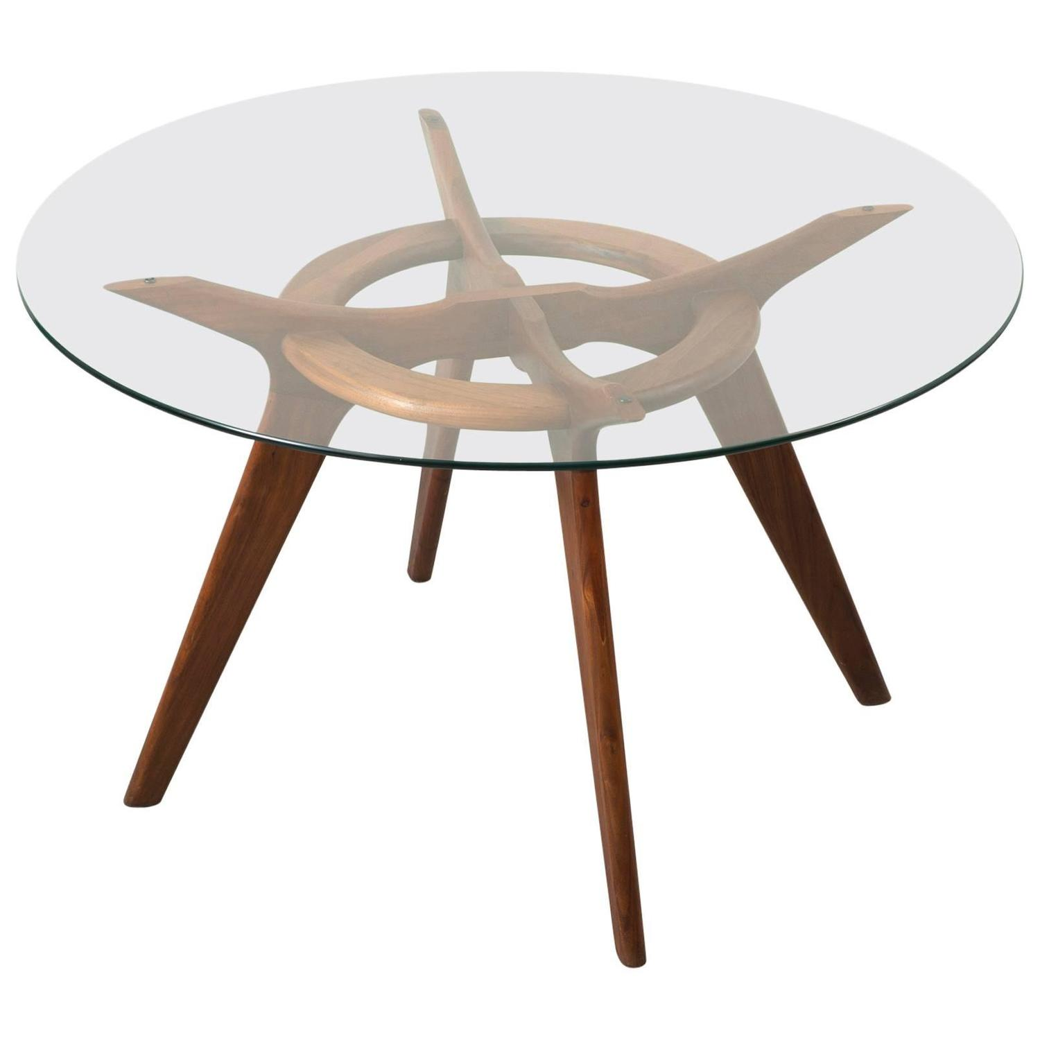 Elegant walnut and glass dining table by adrian pearsall for Fancy glass dining table