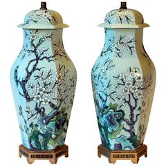 Paul Hanson Mid-Century Chinese Porcelain Style Celadon Chinoiserie Lamps, Pair