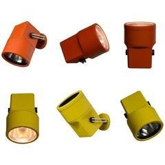 Six Vintage Spot Lights Designed by Louis Poulsen, circa 1960, Made in Denmark