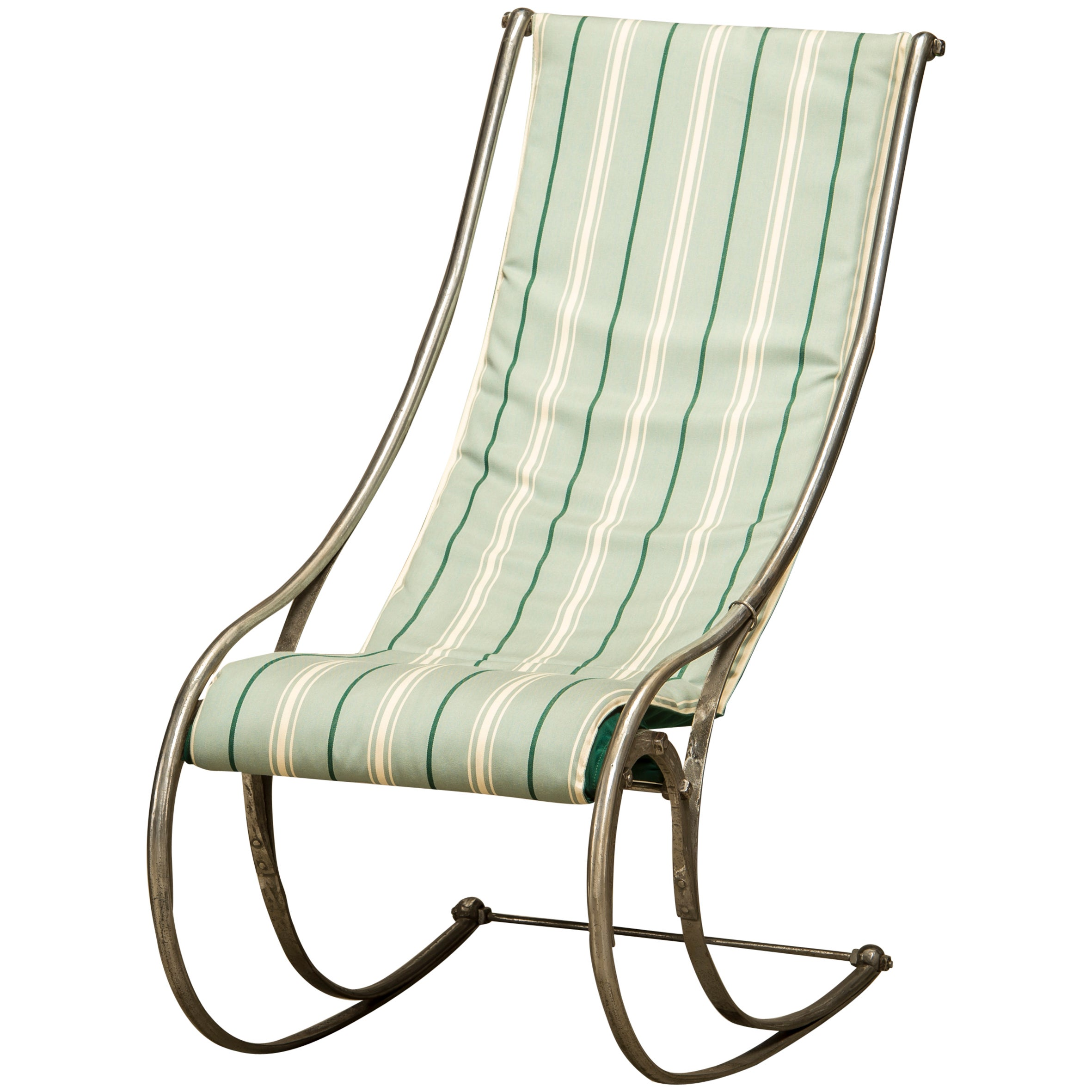 Mid-19th Century H.C. Andersen Rocking Chair in Polished Cast Iron