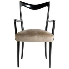 Italian 1950s Black Lacquered Solid Wood Chairs with Arms by Cesare Lacca