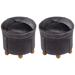 Pair of Italian 1930s Drum Shaped Stools