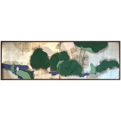 """Japan Small Folding Two-Panel Tea Screen Depicting """"Lillies and Lotus"""""""