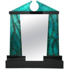 Post Modern Hollywood Regency Classical David Marshall Glass Mirror Key Pediment