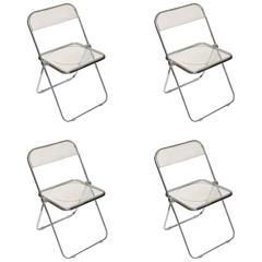 Four-MCM Italian Castelli Giancarlo Piretti Acrylic Folding Plia Chairs