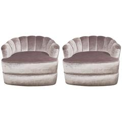 Pair of 1970s Milo Baughman Channel Back Swivel Tub Chairs