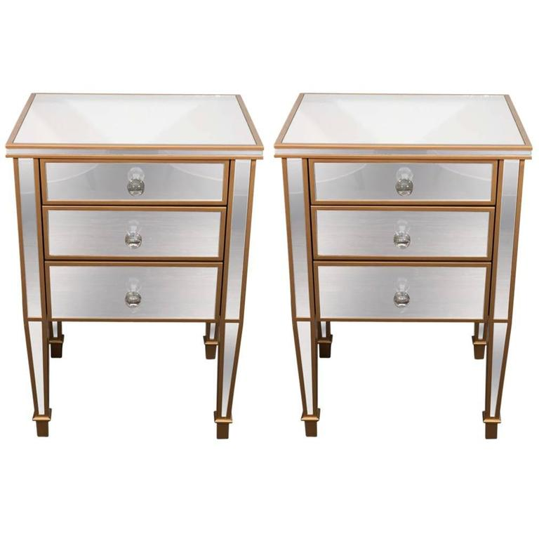Pair of Custom Gold Trim, Mirrored Commodes