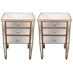 Pair of 3-Drawer Gold Trim Mirrored Nightstands