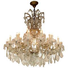 1950s Large Italian Maria Theresa Twenty Four-Light Crystal Chandelier