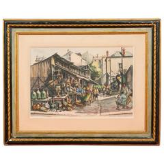 André Duculty Watercolor, View of the Clignancourt Flea Market