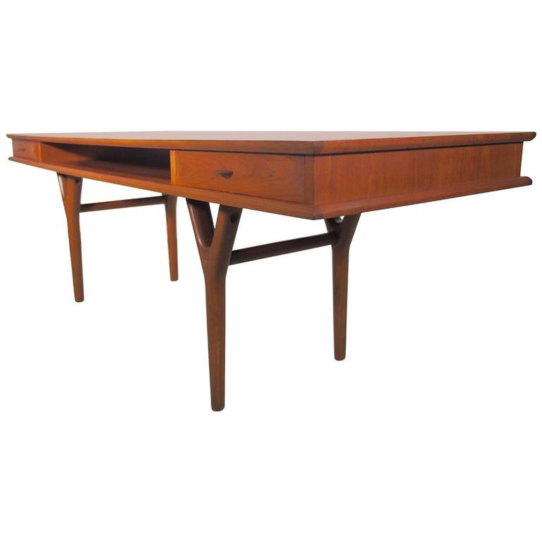 Danish Rectangular Teak Coffee Table With Drawers At 1stdibs