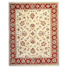 Cream Oriental Rug, Beige Handmade Carpet for Living Room Rugs for Sale