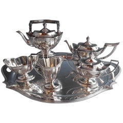 Plymouth Engraved by Gorham Sterling Silver Five-Piece Tea Set Hollowware