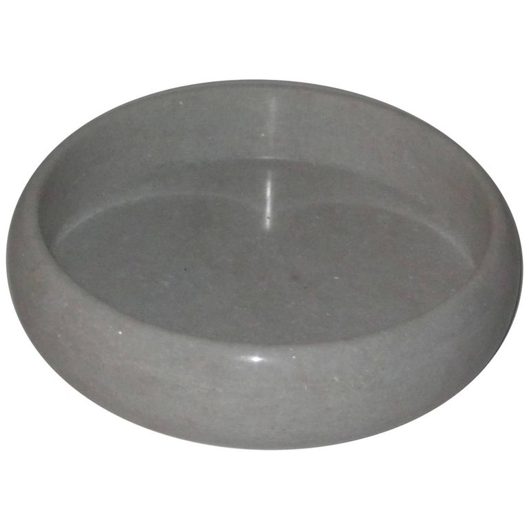 Round White Marble Tray, India, Contemporary For Sale