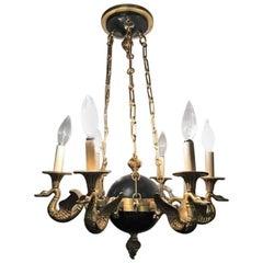 Regency Style Six-Arm Bronze Swan Decorated Chandelier
