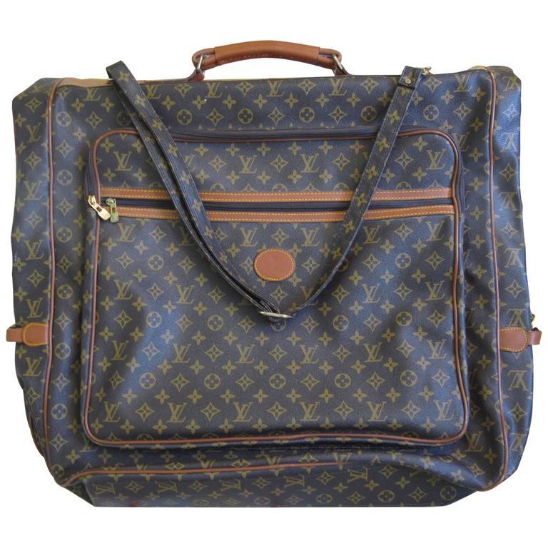 louis vuitton vintage iconic lv logo monogram fold over large garment bag at 1stdibs