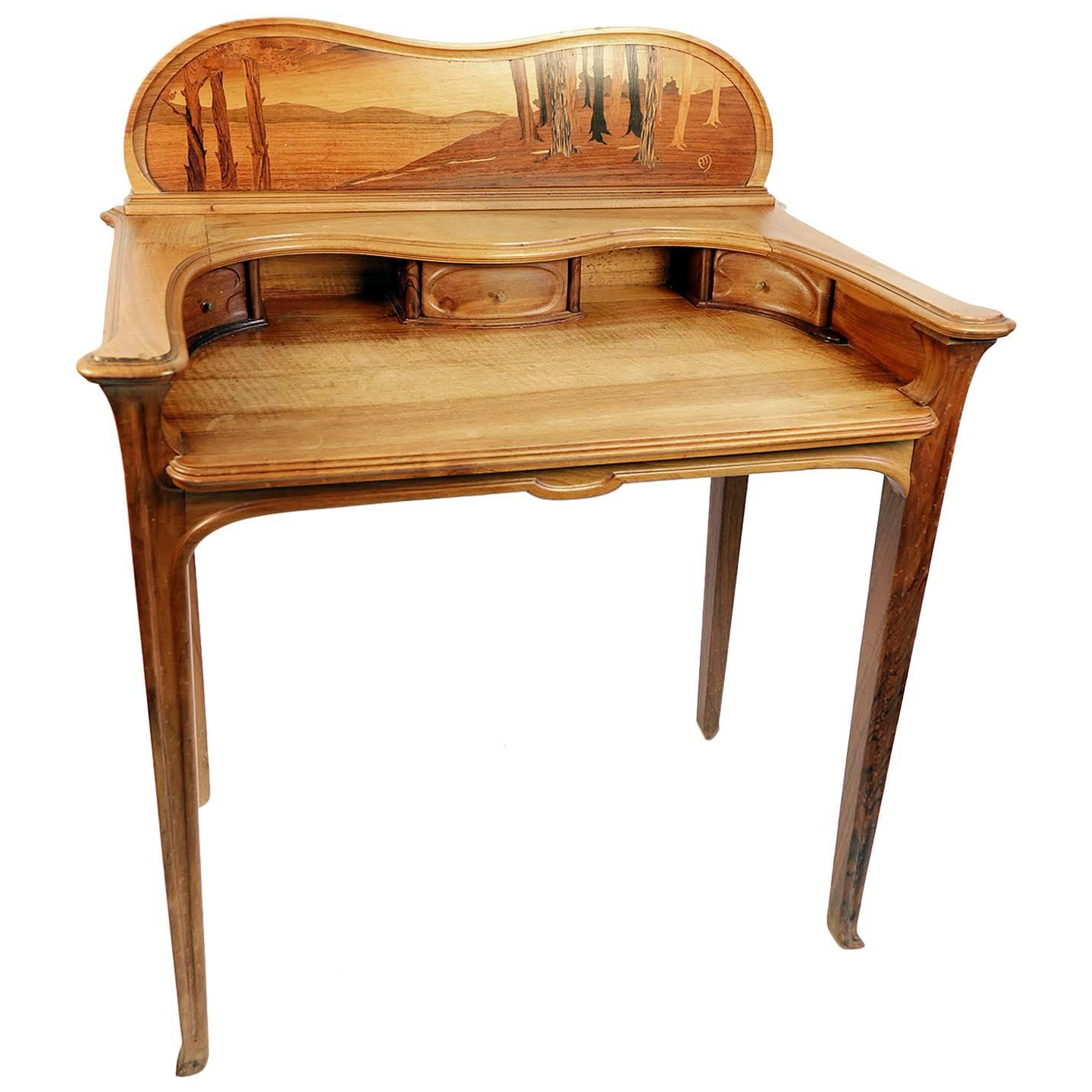 Art Nouveau Inlaid Writing Desk and Chair For Sale at 1stdibs