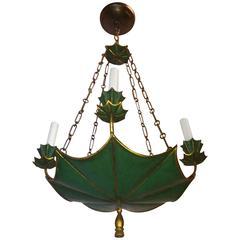 Wonderful Green Gold Gilt Tole Four-Light Chandelier Vintage Fixture Wood Tassel