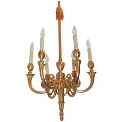 Wonderful Adams Style Gilt Doré Bronze Swag Chandelier, Six-Arm Fixture