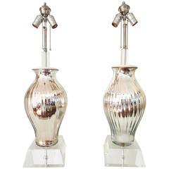 Pair of Swirl Mercury Glass Vase and Lucite Lamp, 1950s
