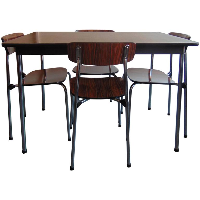 Mid Century Chrome And Rosewood Vinyl Dining Table And Stacking Chairs By Tav
