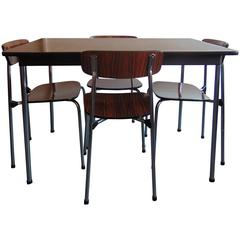 Mid-Century Chrome and Rosewood Vinyl Dining Table and Stacking Chairs by Tavo