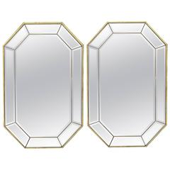 Pair of La Barge Italian Brass Framed Wall Mirrors