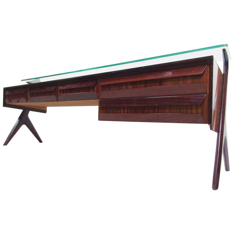 Italian Modern Glass Top Sideboard in the Style of Paolo Buffa For Sale