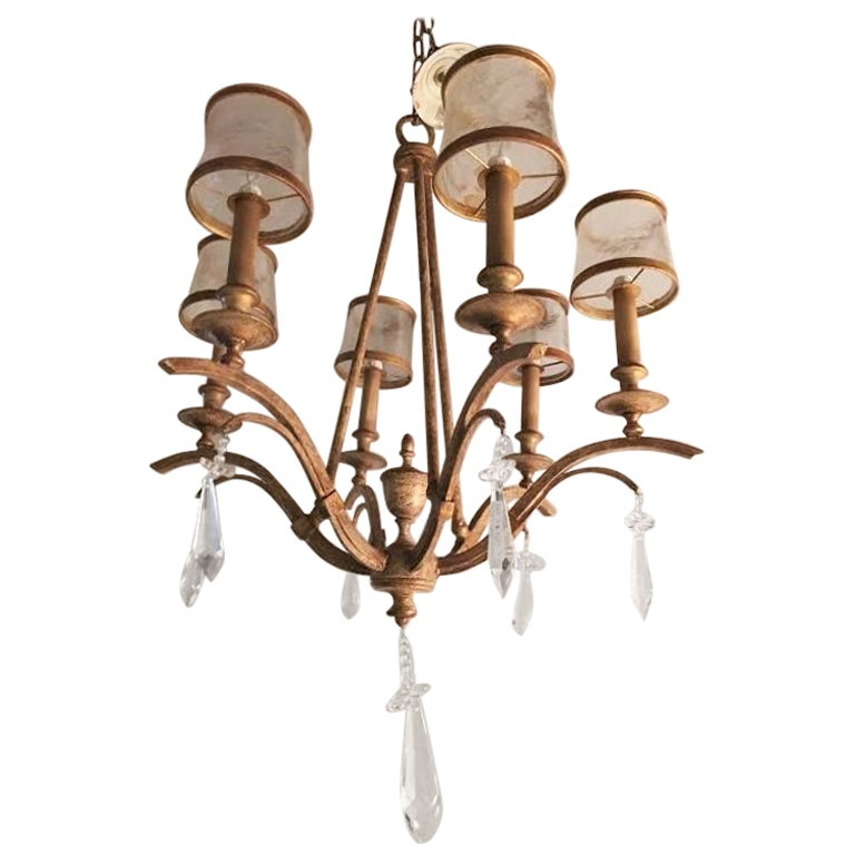 Italian Gilt Metal and Crystal Chandelier with Glass Shades